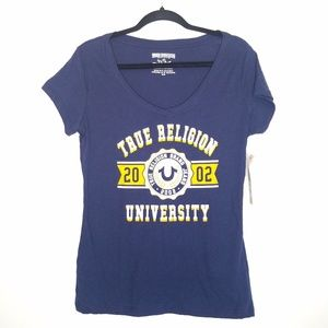 True Religion University Graphic Blue Tshirt